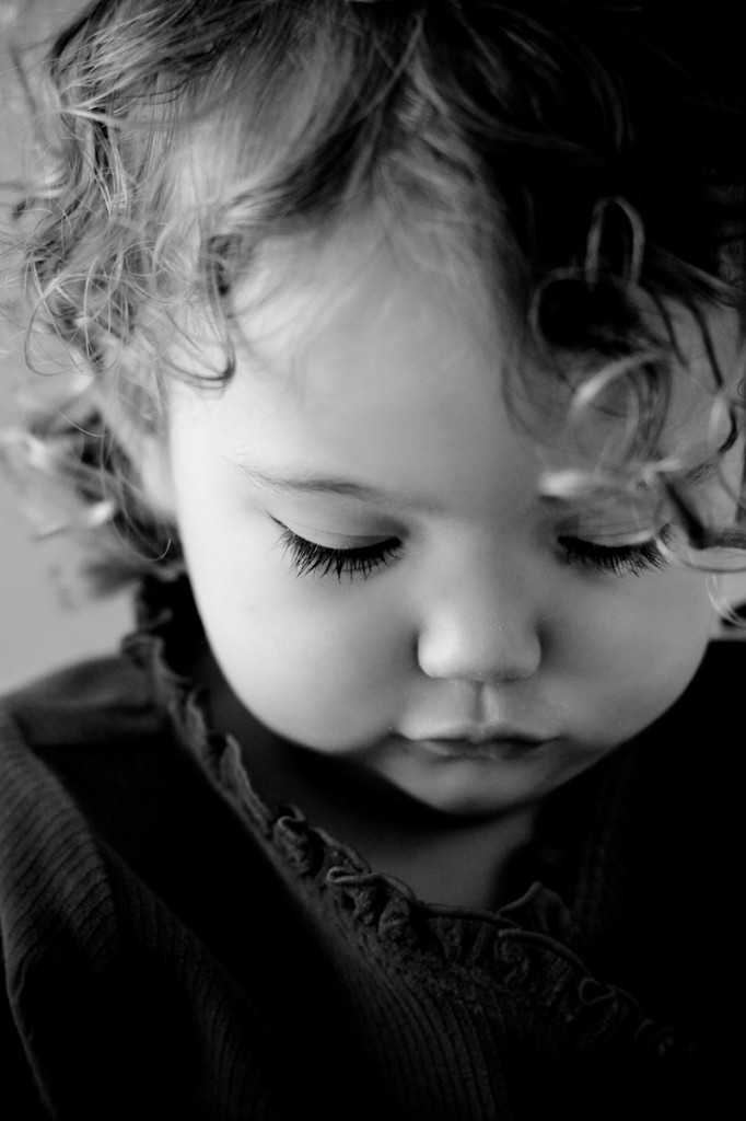 black and white image of adorable girl